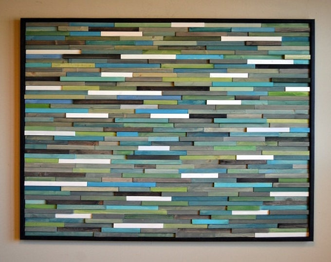 Wood Wall Art - Modern Wood Sculpture -  Wall Art - Blues - Greens  Turquoise Grays - White