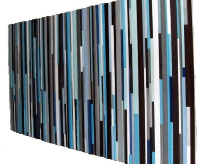 Wood Wall Art - Large Wall Art - Blue Wall Art - Headboard  36 x 72