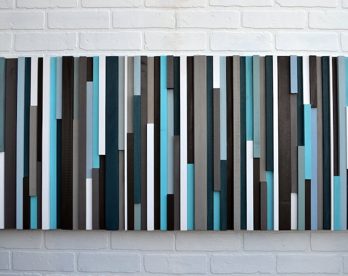 Wood Wall Art, Large Wall Art, Blue Wall Art, 3D Wall Art