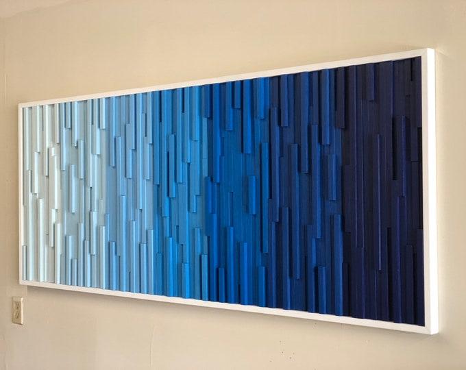 Wood Wall Art Extra Large - Wall Art - Wood Sculpture -  Modern Wall Art - Modern Art - 3D Art - Headboard - Ocean Art - Gradient Art - Ombr