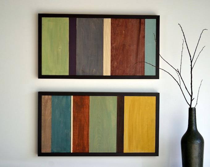 Wood Wall Art - Wood Art - Reclaimed Wood Art - Painting on Wood - 12x24 set