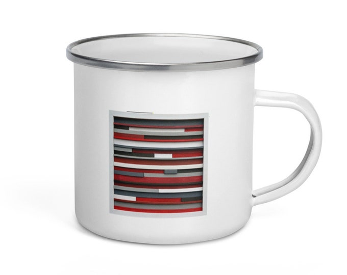 Enamel Coffee Mug Original Artwork Bridesmaid gift mug Enamel mug Metal mug gift Holiday gift Birthday gift Awesome gift