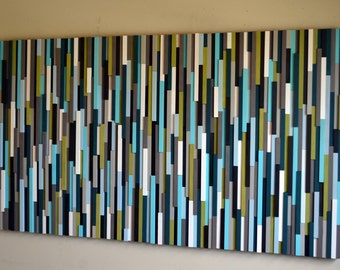 Modern Wood Sculpture Wall Art - Skinny Rectangles -  40 x 70 - Turquoise and Green