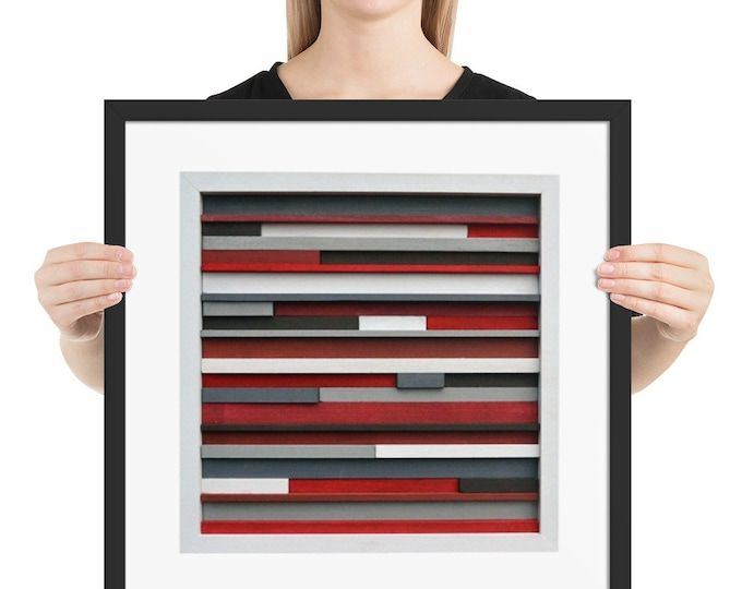 Framed Poster Wall Art, Small Wall Art, Red and White Wall Art, Wood Framed Wall Art, Housewarming Gift
