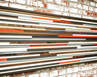 Wood Wall Art - Wall Art - Reclaimed Wood Art Sculpture - Modern Wall Art - Abstract Painting on Wood - 24x60
