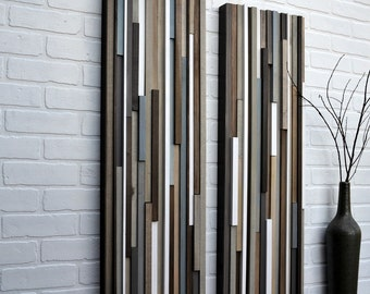Wood Wall Art - Wood Art - Reclaimed Wood Art - Farmhouse Wall Decor - Living Room 3D Artwork - 12x36 Set