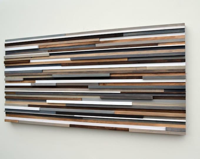 Wood Wall Art - Abstract Acrylic Painting on Wood - Reclaimed Wood Art - 24x48