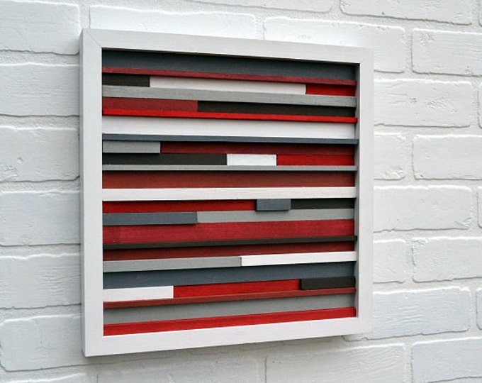 Wood Wall Art - Sculpture Reclaimed Wood - Abstract Painting on Wood - 12x12