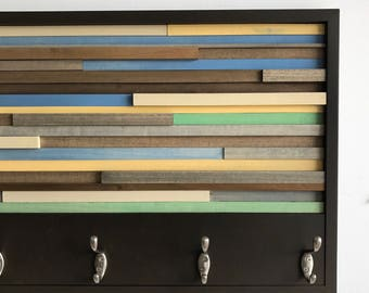 Coat Rack Wall Mount - Colorful Wall Decor - Living Room Decor Ideas - Modern Wood Wall Art - 3D Artwork - Home Decor Art