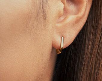 Dainty Stud Earrings - Gold Hoop Earrings - Ear Hook- Unique Earrings - Nickel Free Earrings - Wedding Earrings - STD063