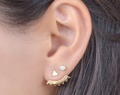 Gold Ear Jacket - Floating Earrings - Bridal Earrings - Stud Earrings - Triangle Stud Earring - Geometric Jewelry - Bridesmaid Gift - EJK001