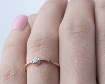 Opal Ring - Bridesmaid Gift - Tiny Gemstone Ring - Minimalist Ring - Stacking Ring - Birthstone Ring - Thin Gold Ring - RNG040P03
