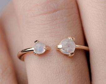Open Cuff Ring - Moonstone Ring - Minimalist Ring - Birthstone Ring - Gemstone Stacking Ring - Dainty Gemstone Ring - RNG021
