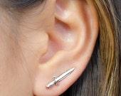 Dagger Earrings- Ear Climber Earrings-Sterling Silver-Dainty Ear Cuff- Edgy Earrings- Sword Earrings- Stud Earrings- ECF016