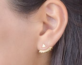 Gold Ear Jacket-Floating Earrings-Bridal Earrings-Stud Earrings- Triangle Stud Earrings- Geometric Jewelry- Bridesmaid Gift- EJK001