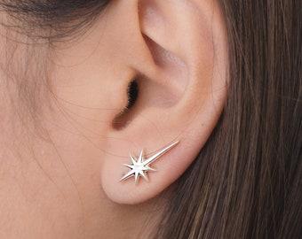 Bar earrings Silver ear climbers Wavy hammered sweep  crawler earrings Sterling silver up the ear earrings Small simple ear pin