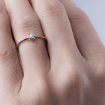 Lab Opal Ring- Birtstone Ring- Petite Stacking Ring- Minimlaist Jewelry- Bridesmaid Gift- Opal Ring-Simple Midi-RNG040P03