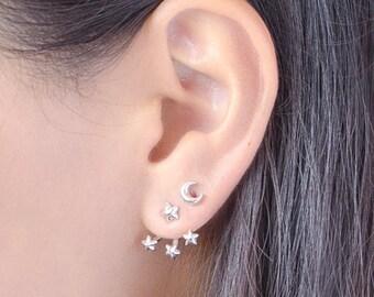 Front Back Earrings - Star Earrings - Ear Jacket - Bridesmaid Gift - Floating Earrings - Double Sided Earrings - Minimal Earrings - EJK007