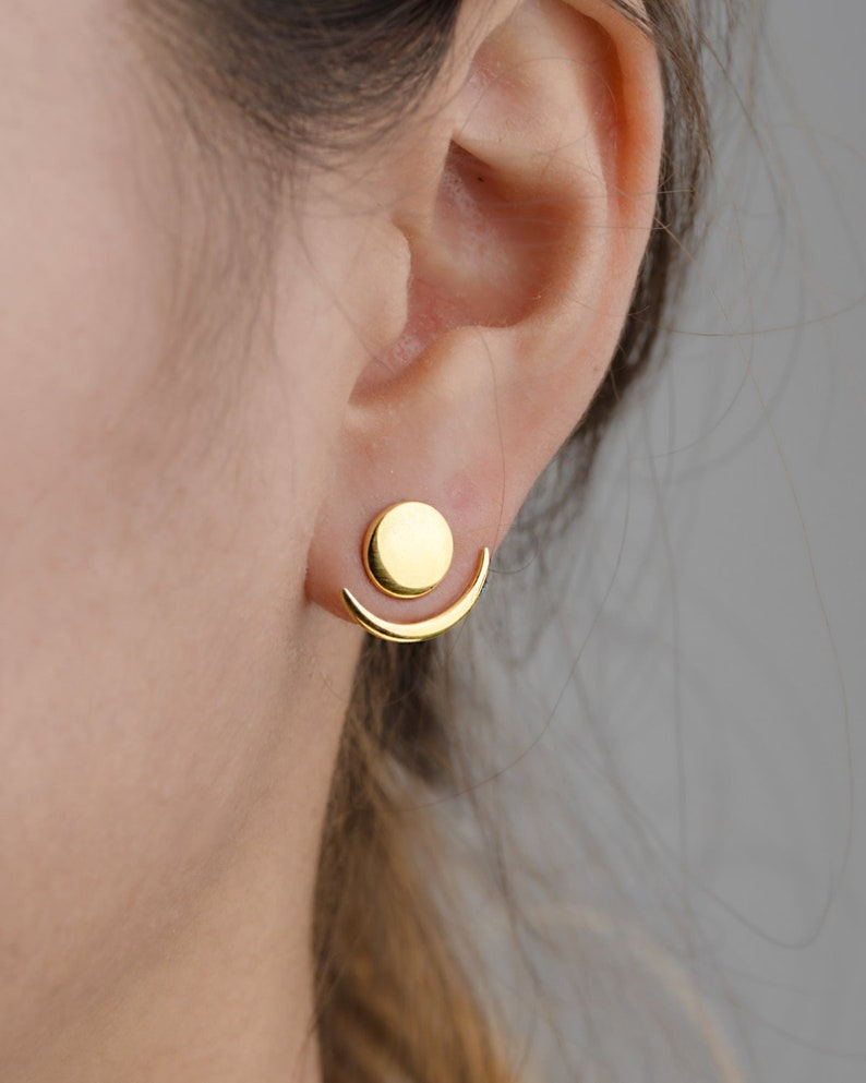 Moon Phase Earrings  Front Back Earrings  Ear Jacket  Yellow Gold Shiny