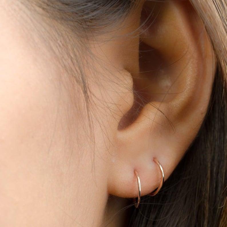 Tiny Hoop Earrings  Huggie Earrings  Cartilage Hoop  Gold Yellow Gold Filled