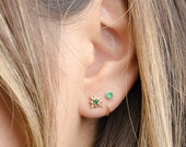 Dainty Lab Emerald Hoop Earrings - Gemstone Earrings - Trendy Earrings - Minimalist Earrings - Bridesmaid Gift - Silver Earrings - EAR030LEM