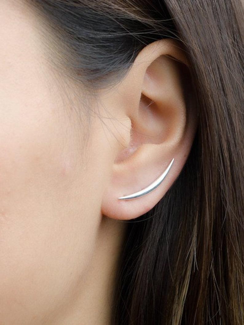b82f1082b Crescent Moon Ear Climber Moon Earrings Half Moon Earrings | Etsy