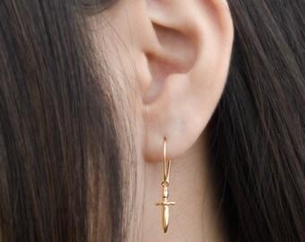 Tiny Dagger Dangle Earrings, Sterling Silver, Gold Plated, Pendulum Earrings, Minimalist Drop Earrings, Lunaijewelry,  Gift for Her, DGE002