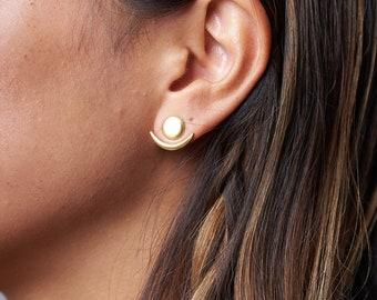 Moon Phase Earrings | Front Back Earrings | Ear Jacket | Floating Earring | Geometric Earring | Bridesmaid Gift | Celestial Earring | EJK008