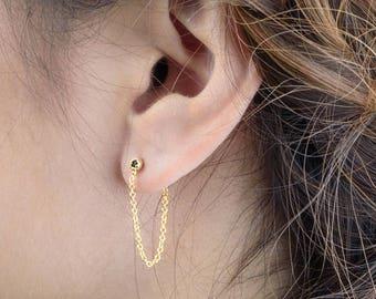 Black Sapphire Chain Stud Earrings, Sterling Silver, Gold Plated, Tiny Post Earrings, Minimalist Lunaijewelry, Handmade Gift, STD087BSP