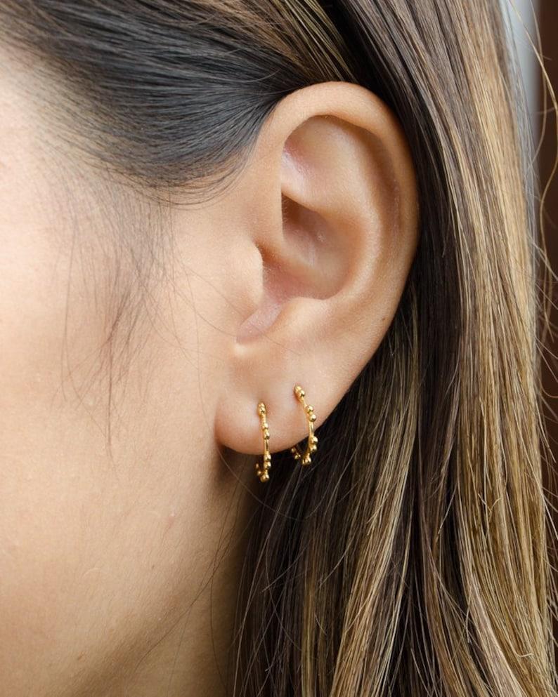 fefd000b5 Hoop Stud Earrings Tiny Ball Stud Earring Dainty Minimalist | Etsy