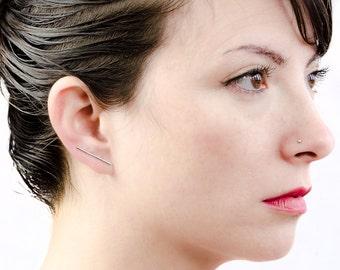 Bar Ear Climbers, Sterling Silver,Gold Plated Bar Line Earrings, Slim Stick Pin Earrings, Minimal Cuff Earrings, Gift for Her, Lunai, ECF011