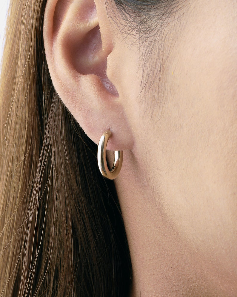 Tiny Gold Hoop Earrings  Minimalist Earrings  Bridesmaid image 0