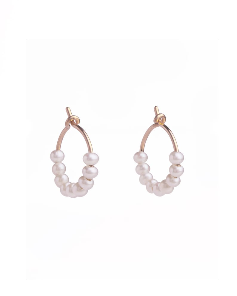Baby Pearl Hoops  Natural Pearl Earrings  Bridesmaid Gift  14kGOLD FILLED