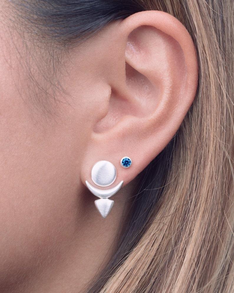 Front Back Earrings  Floating Earrings  Modern Studs  Ear image 0