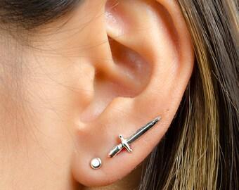 Tiny Dagger Ear Climbers Sterling Silver, Gold Plated, Edgy Pin Earrings, Sword Ear Wrap, Statement Ear cuffs, Lunaijewelry, Gift, ECF016