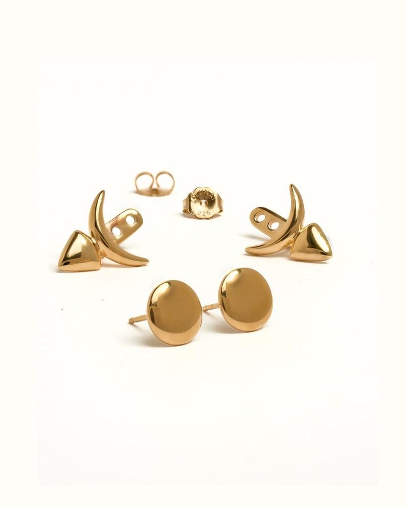 Front Back Earrings Floating Earrings Modern Studs  Ear Yellow Gold Shiny