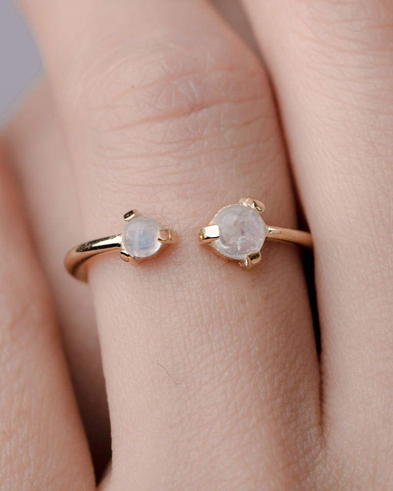Double Moonstone Ring Sterling Silver Yellow Gold Vermeil