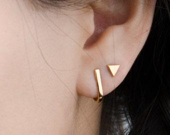 Hook Stud Earrings, Sterling Silver, Gold Plated, Dainty Post Earrings, Minimalist Studs, Modern Lunaijewelry, Gift for her, STD063