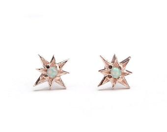 Starburst Opal Stud Earrings, Sterling Silver, Gold Plated, North Star Earrings, Minimal Jewelry, Handmade Gift, Lunai, STD049O03