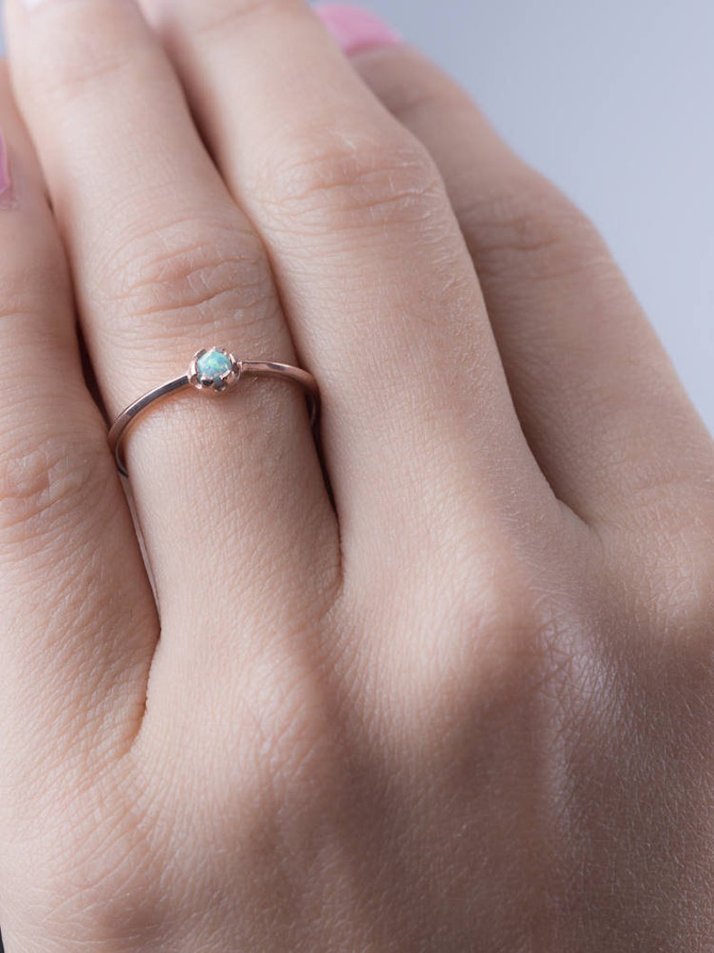 Lab Opal Ring  Bridesmaid Gift  Tiny Gemstone Ring  image 0