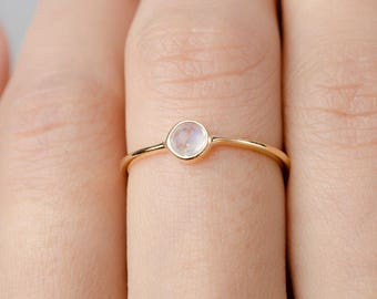 Moonstone Ring Silver - Handmade Jewelry- Gold Vermeil Ring - Bridesmaids Gift - Graduations Gift - Rose Gold Ring - RNG036MOO