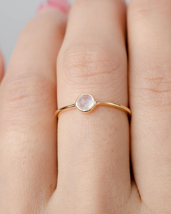 Everyday Ring,Gold Plated ring, Simple Midi Dainty Stacking Ring Skinny Gold Ring Moonstone Birthstone Ring Gemstone Jewelry