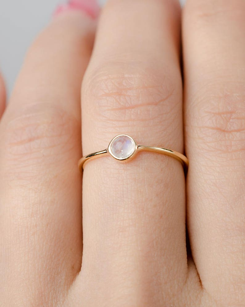 Moonstone Birthstone Ring  Gemstone Jewelry  Dainty Stacking image 0