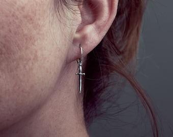 Tiny Dagger Earrings- Dainty Earrings- Unique Sword Silver - Bridal Earrings- Punk Earrings - Birth Gift-DGE002