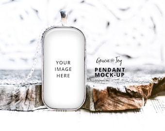 Download Free Large Domino Pendant Product Mockup, Silver, Jewelry, template,jewelry photography,charm mockup,necklace mockup, Cabochon Printable PSD Template