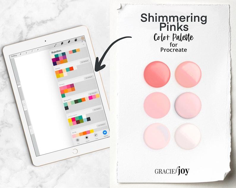 Gracie and Joy Shimmering Pink Procreate Color Swatch Digital Color Palette Digital planner Branding Color iPad Pro Instant Download