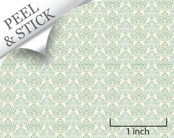 Quarter Scale Wallpaper-Peel and Stick-Mums, Turquoise