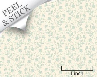 Quarter Scale Wallpaper-Peel and Stick-Climbing, Turquoise