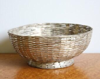 Vintage Woven Silvertone Metal Basketweave Footed Bowl