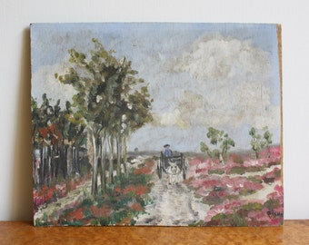 Antique Carriage Meadow Plein Air Painting on Board